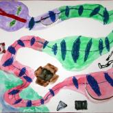 9 let - Had, co všechno snědl, mastný pastel, vodové barvy