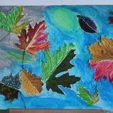 8 let, padání listů - koláž, pastel, tempera,