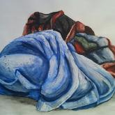 studie drapérie, temperové barvy