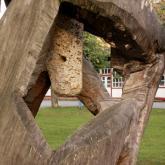 objekt -detail - dřevo, travertín, Vyšné Ružbachy